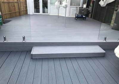 Decking painted in two shades of grey