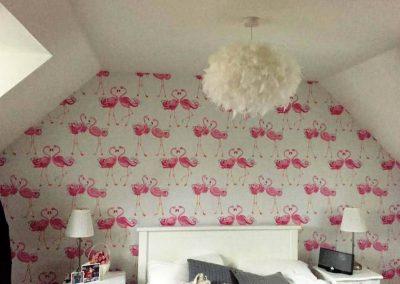 Flamingo wallpaper feature wall