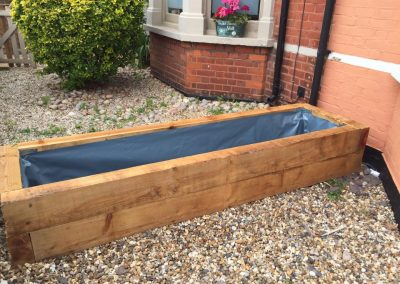 Planter made from railway sleepers
