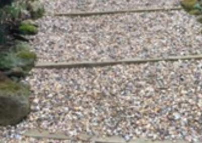 Sleeper and shingle steps laid